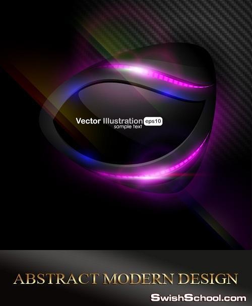 خلفيات فيكتور تجريديه سوداء مع الوان ابداعيه جميله Abstract modern design