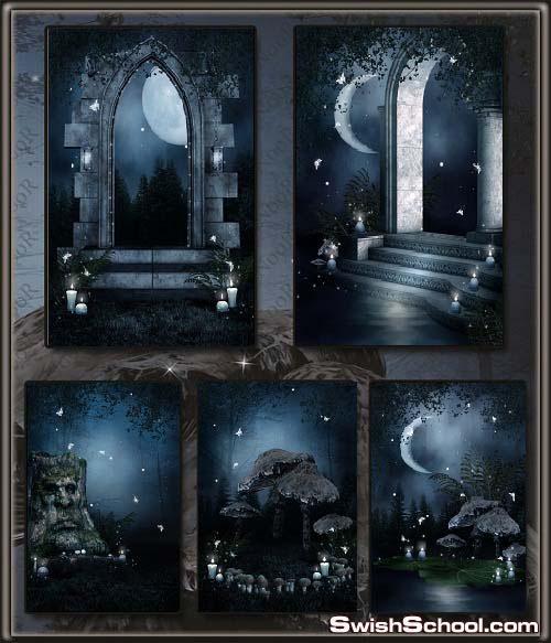 خلفيات فانتازيا قمر وسحر وليل وسكون , خلفيات جوثك هدؤ في ليله قمريه,خلفيات عاليه الجوده للاستديوهات والتصميم 2013