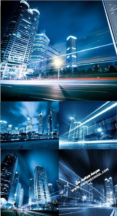 خلفيات اضواء المدن اثناء الليل باللون الازرق Blue Night Cities