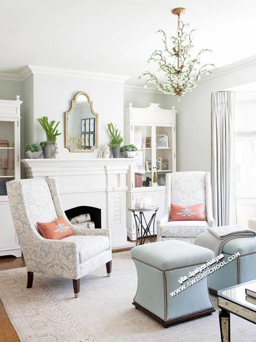 غرف معيشه بألوان الربيع 2012