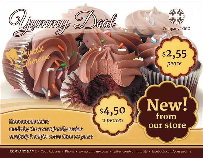 3فلايرات لمحلات الحلويات مفتوحة للتعديل عليه , psd flyer , فلاير cmyk للدعاية والاعلان