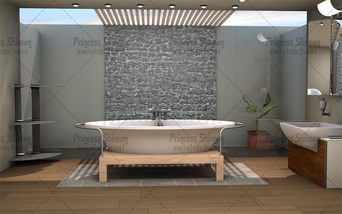 موديل bathroom للسينما فور دى مدرسة جرافيك مان