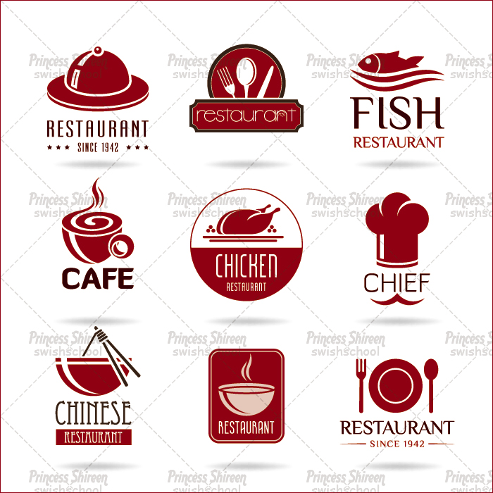 فيكتور لوجوهات للمطاعم بصيغة eps مدرسة جرافيك مان