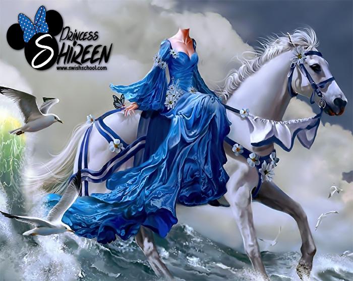 قالب تركيب اميرة مع حصان أبيض psd للتعديل عليه عالى الجودة لاصحاب الاستوديوهات مدرسة جرافيك مان