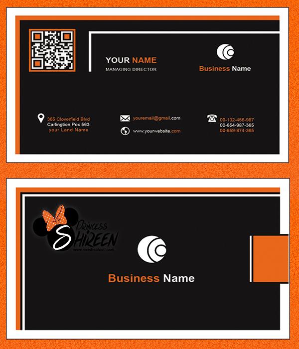 كارت بيزنس باللون الاسود والبرتقالى مفتوح للتعديل عليه , psd card , ملفات مفتوحة للدعاية والاعلان جديدة 2015