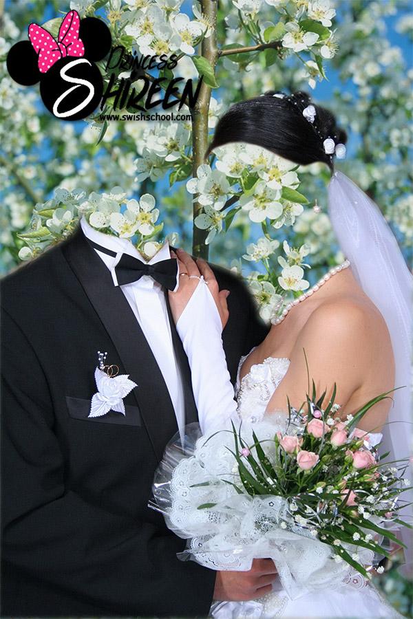قالب تركيب وجه عريس وعروسة مع الزهور psd للتعديل عليه عالى الجودة لاصحاب الاستوديوهات مدرسة جرافيك مان