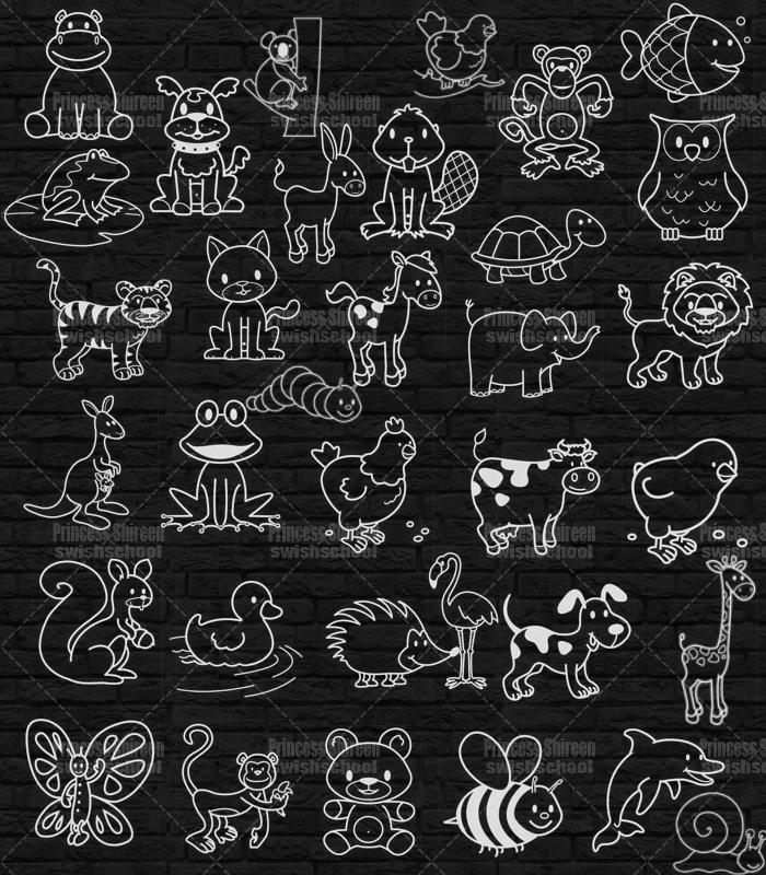 كولكشن فرش حيوانات مرسومة احترافية جديدة للفوتوشوب مدرسة جرافيك مان