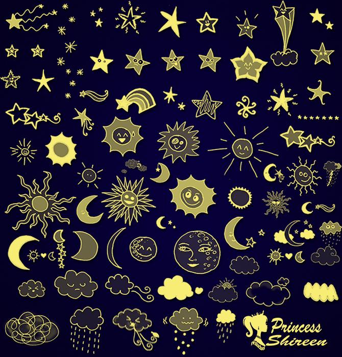 كولكشن فرش نجوم وشمس وقمر احترافية لتصاميم الاطفال جديدة للفوتوشوب مدرسة جرافيك مان
