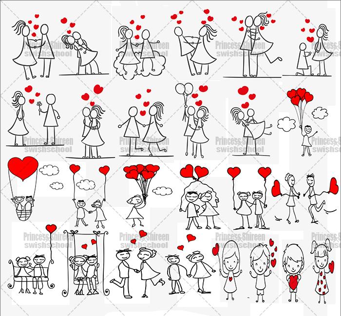 سكرابز كابلز كارتون مع قلوب حمراء للتصاميم الرومانسية وتصاميم الفلانتين مدرسة جرافيك مان جديد 2016
