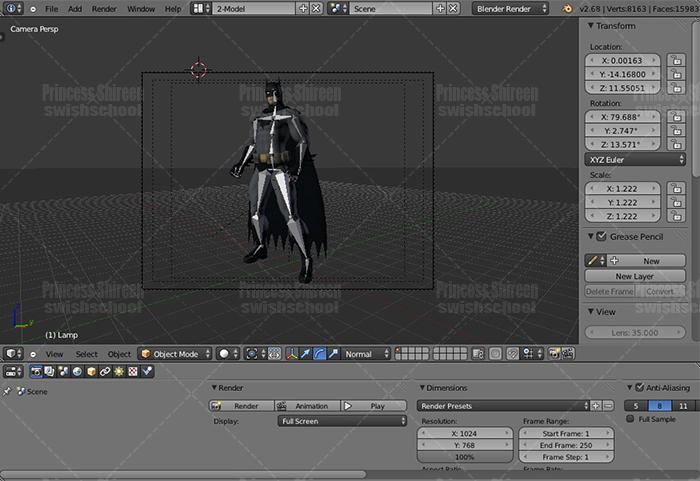 موديل باتمان 2 لبرنامج البلندر مدرسة جرافيك مان
