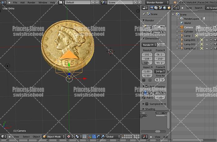 موديل عملة معدنية لبرنامج البلندر مدرسة جرافيك مان