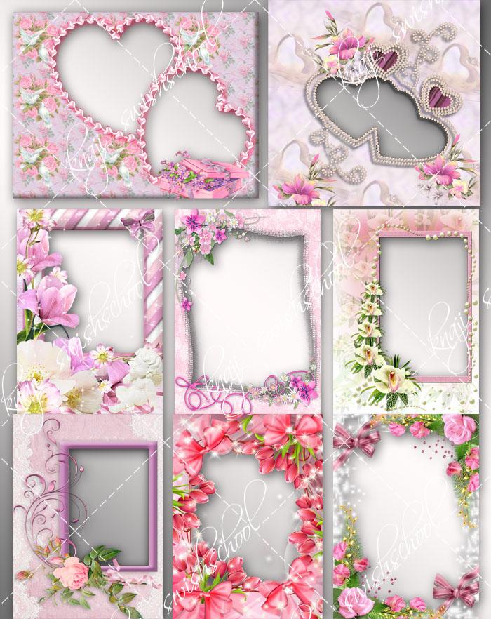 اطارات باللون الزهري مع الورود والزهور دون خلفيه