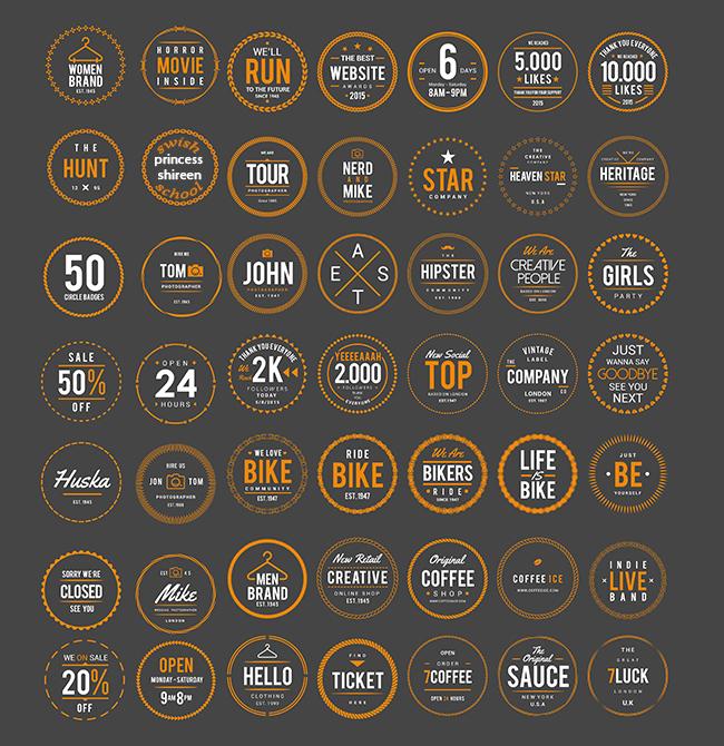 50 لوجو دائرى فيكتور لعمل الشعارات والماركات والاستيكرات للدعاية والاعلان مدرسة جرافيك مان جديد 2016