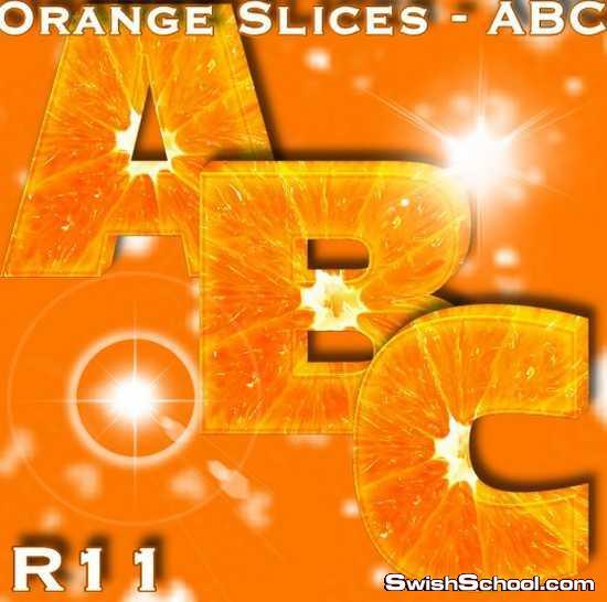 حروف من شرائح البرتقال والكيوي , برتقال , كيوي , حروف انجليزيه , حروف للاطفال , احرف