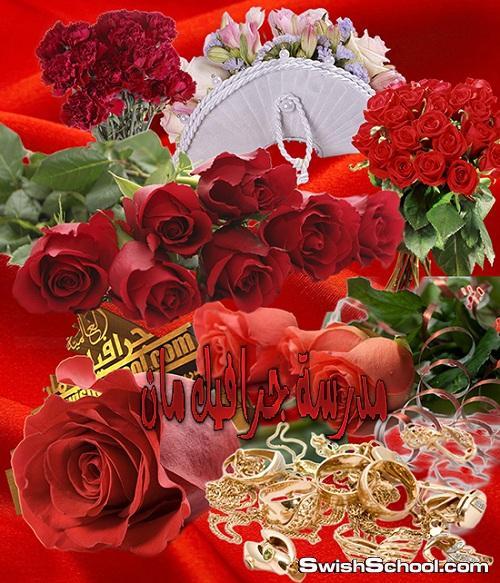 كليب ارت ورد احمر رومانسي للتصميم psd