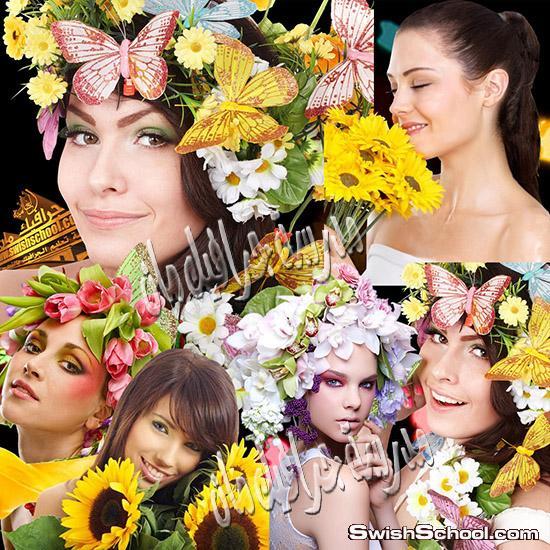 صور مفرغه بنات جميلات مع زهور وورد png  , زهور مقصوصه لتزين التصميم 2013