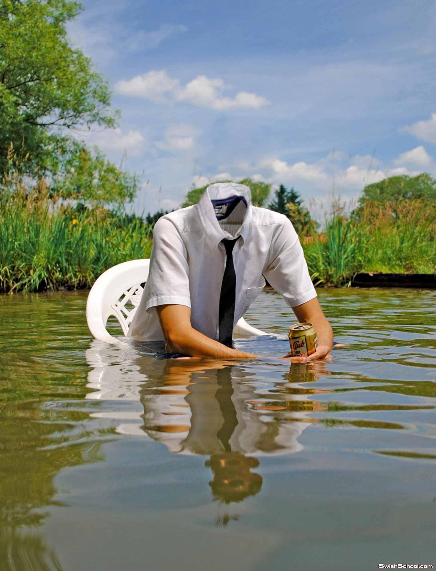 قالب لراجل يجلس فى الماء رهيب جدا
