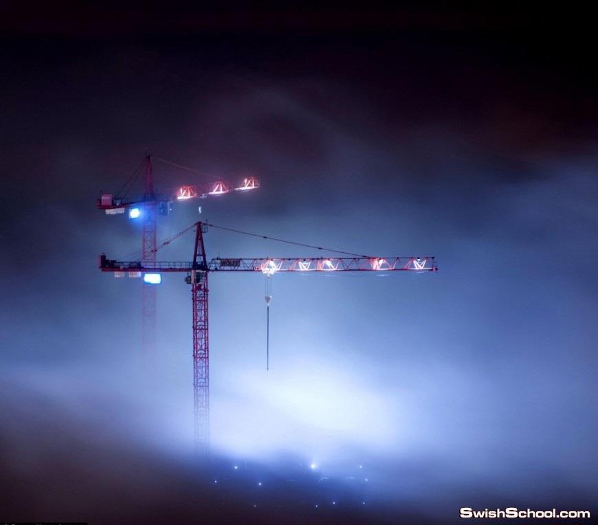 صور ساحره لمدينه دبي وسط الضباب