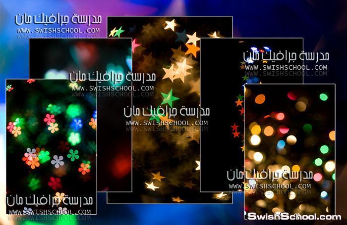 خامات فوتوشوب سوداء مع زهور وفراشات ودوائر ونجوم ضؤيه jpg