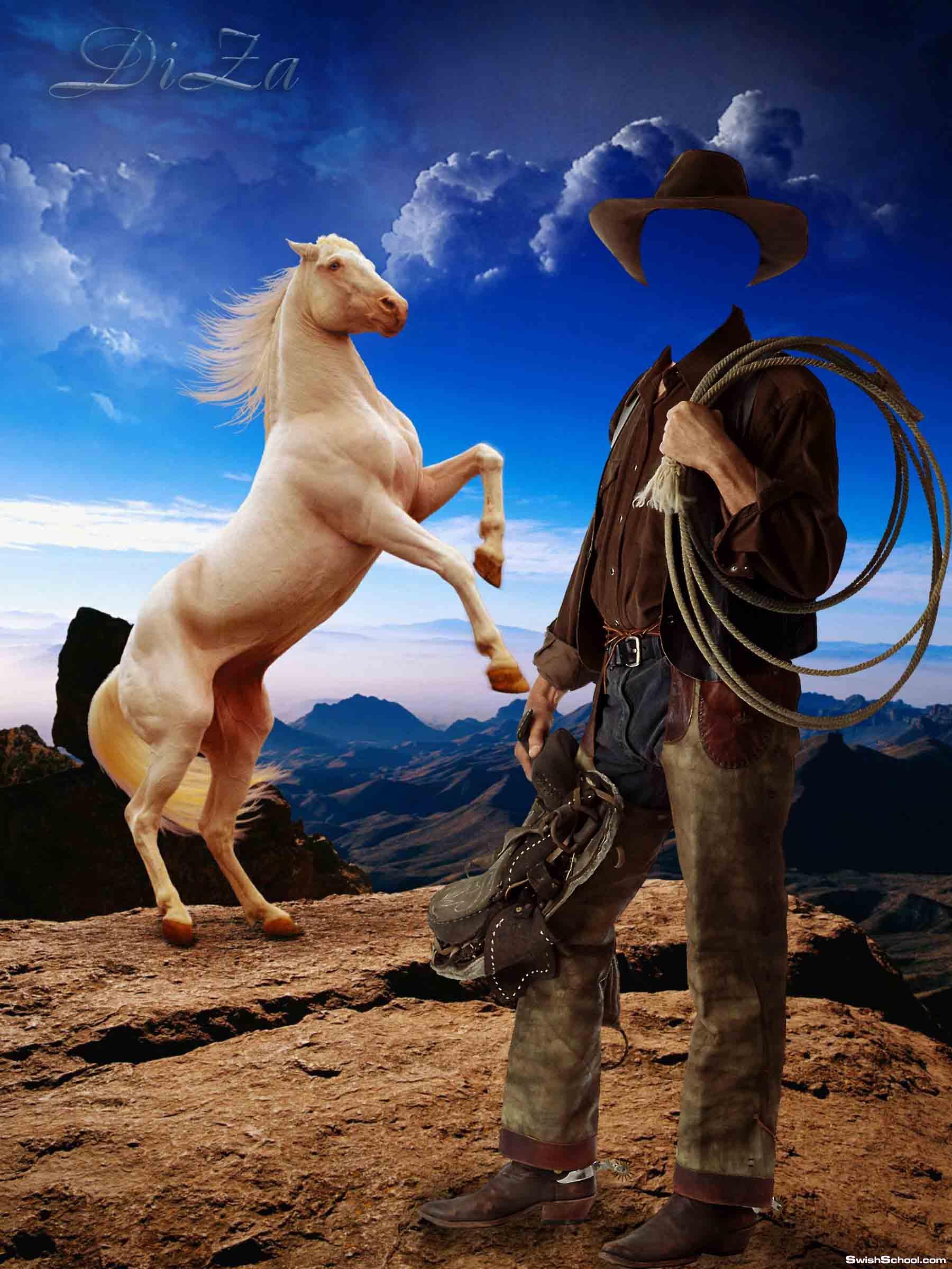 قالب ل cow boy بجانبه حصان