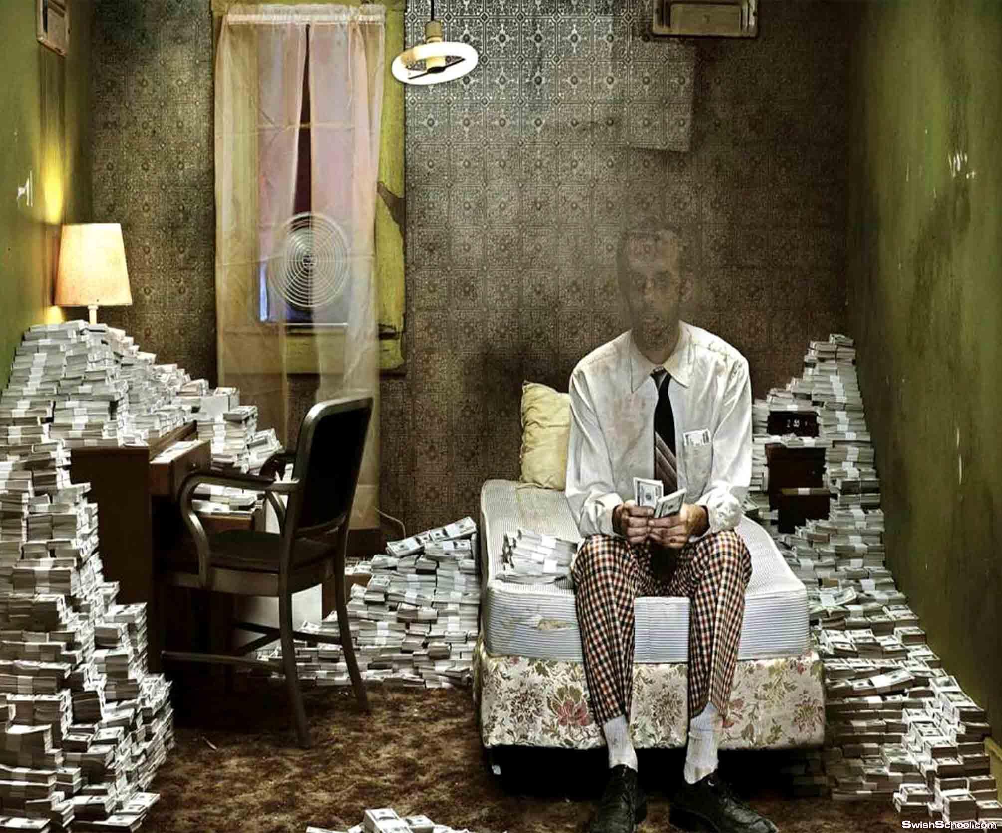 حصرى قالب لراجل فى غرفة مليئة بالنقود  فوق الرائع