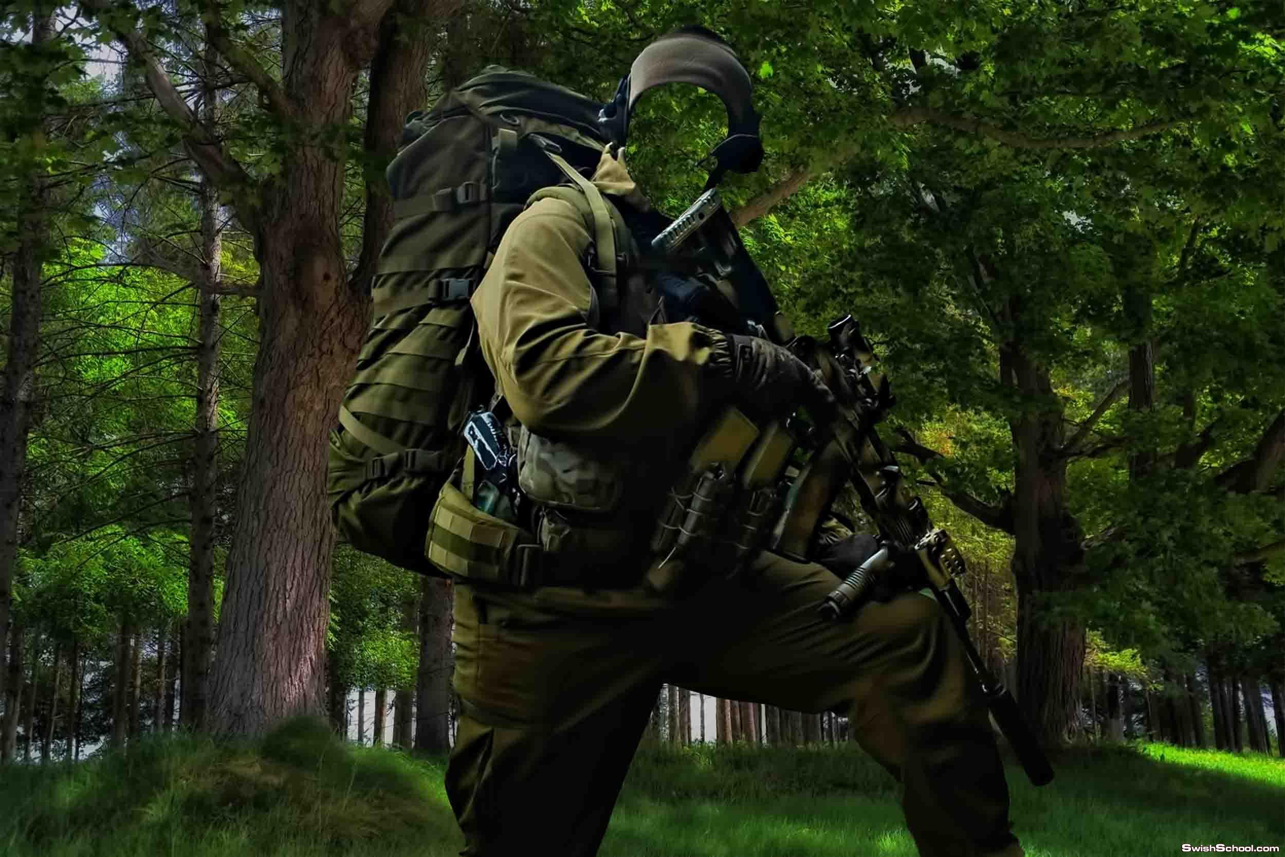 حصرى قالب لعسكرى يلبس مموه اخضر رائع