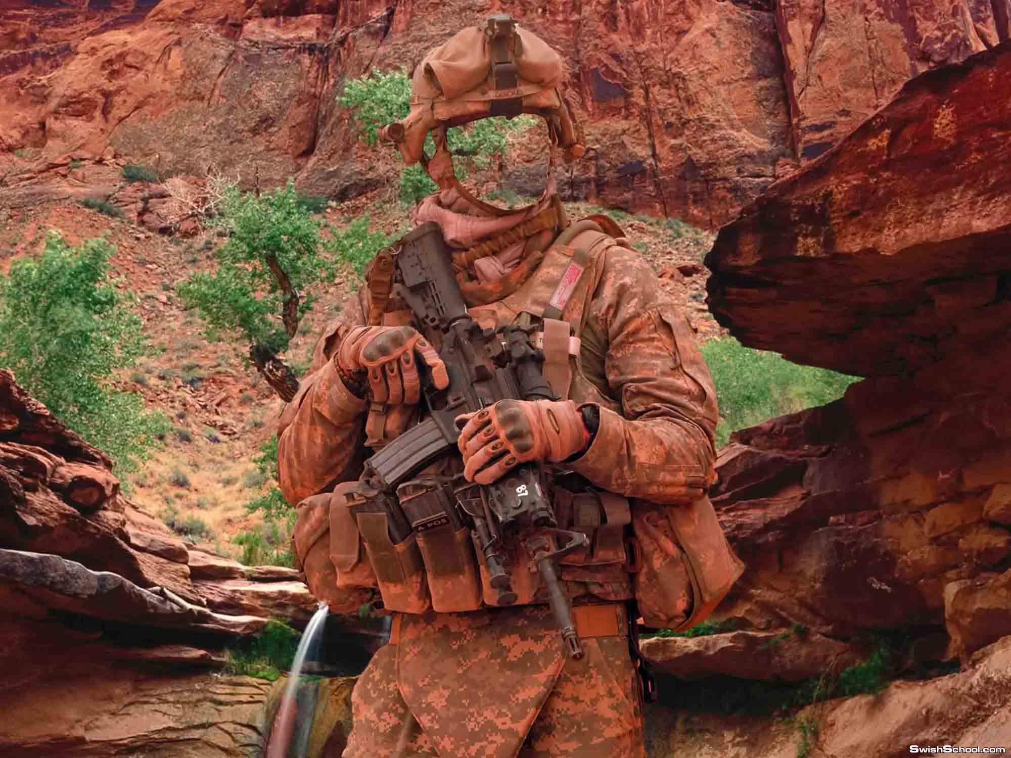 قالب لعسكرى يلبس مموه فى الجبل رائع جدا