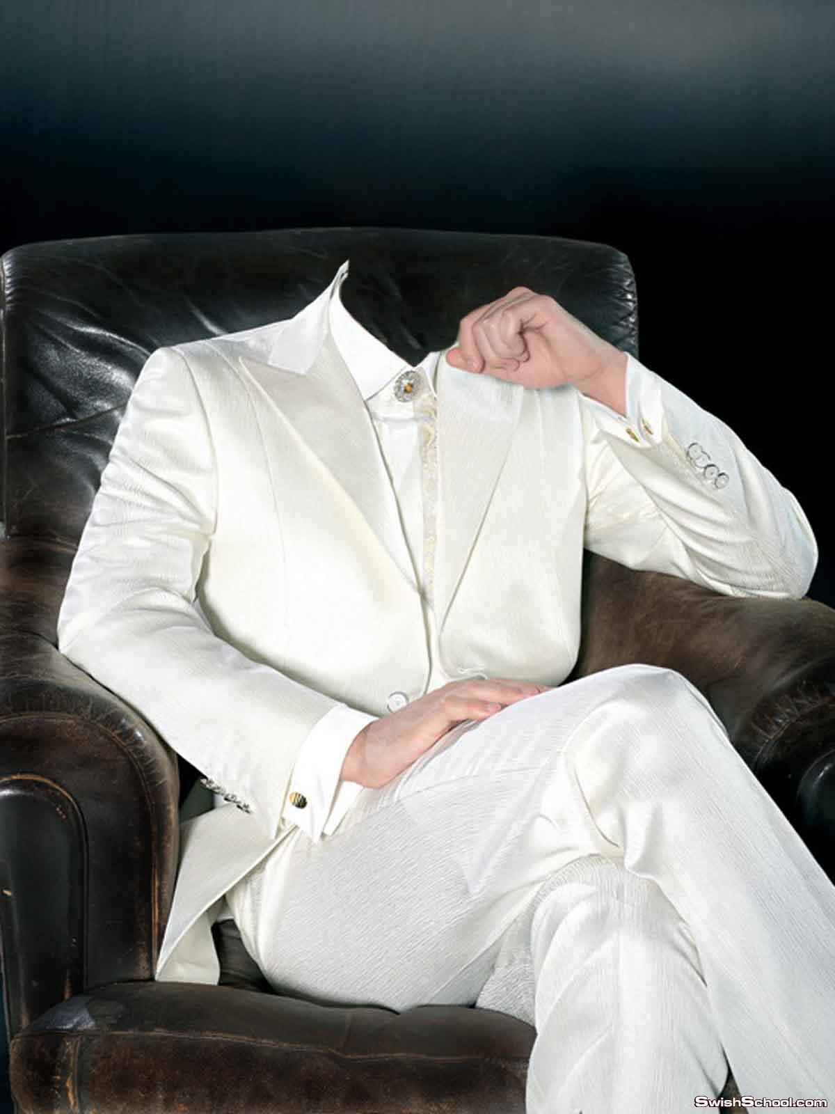قالب لراجل يجلس على كرسى ببدلة بيضاء  رائع
