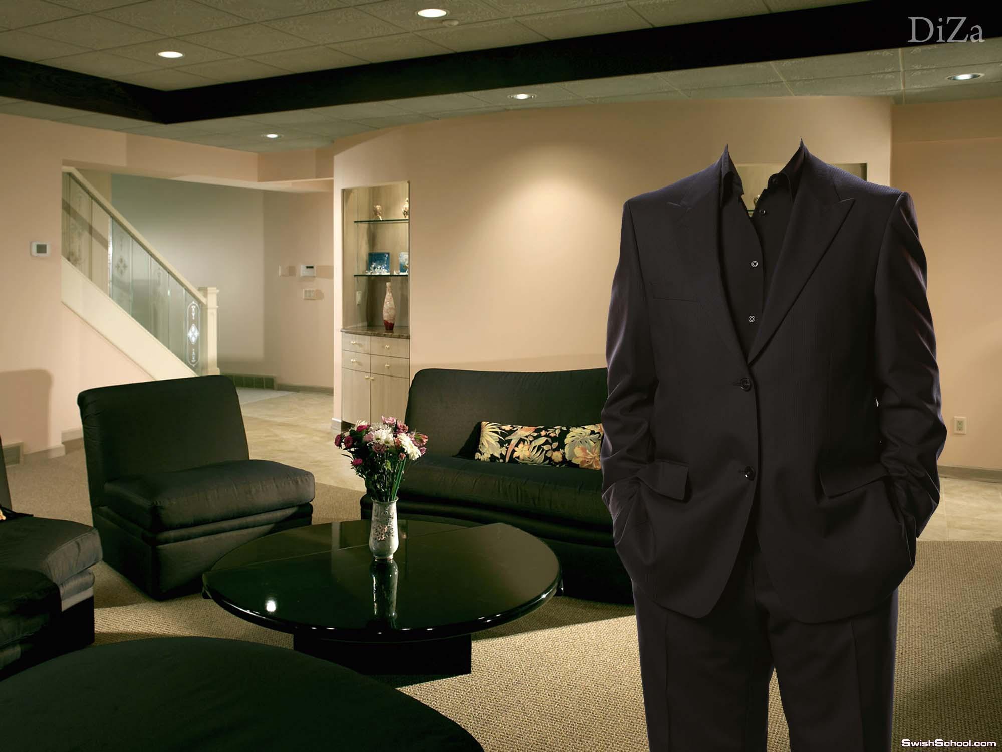 قالب لراجل فى منزله ببدلة سوداء جميلة جدا