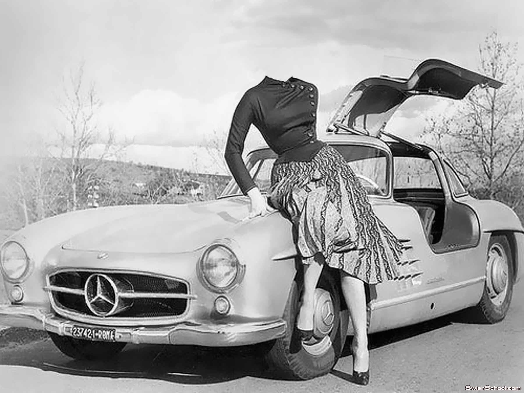 حصرى قالب خيالى لفتاة تجلس على سيارة مرسيدس ابيض واسود