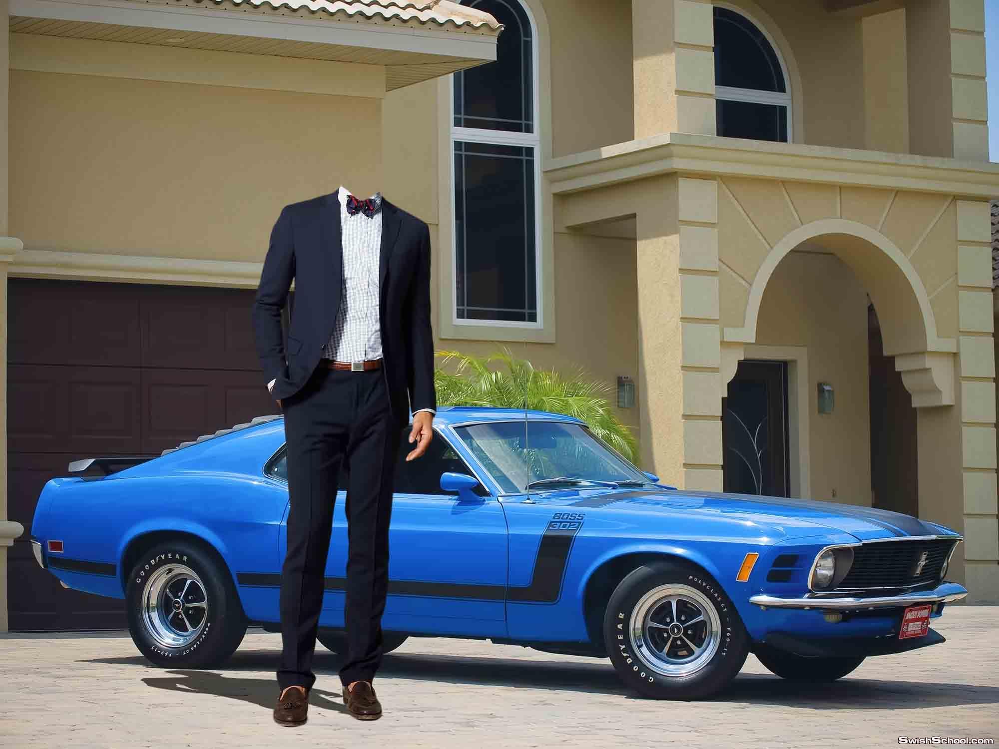 قالب لراجل بجوار سيارة زرقاء رائعة جدا