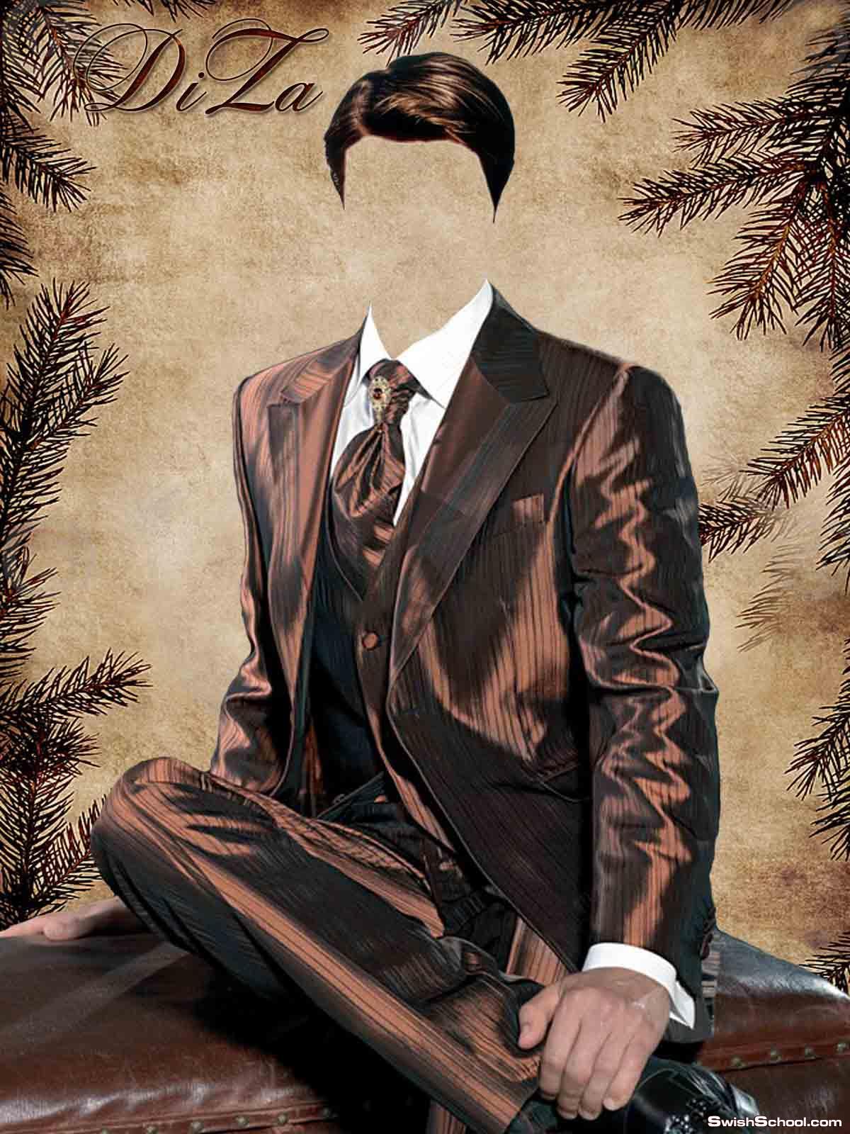 قالب لراجل يرتدى بذلة شيك وبروكة جميل جدا