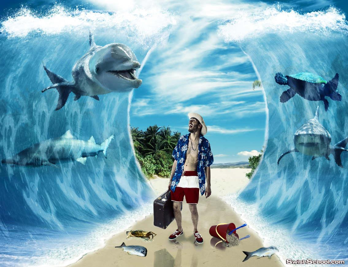 "درس دمج احترافى  ""Create a Parting of the Sea"""