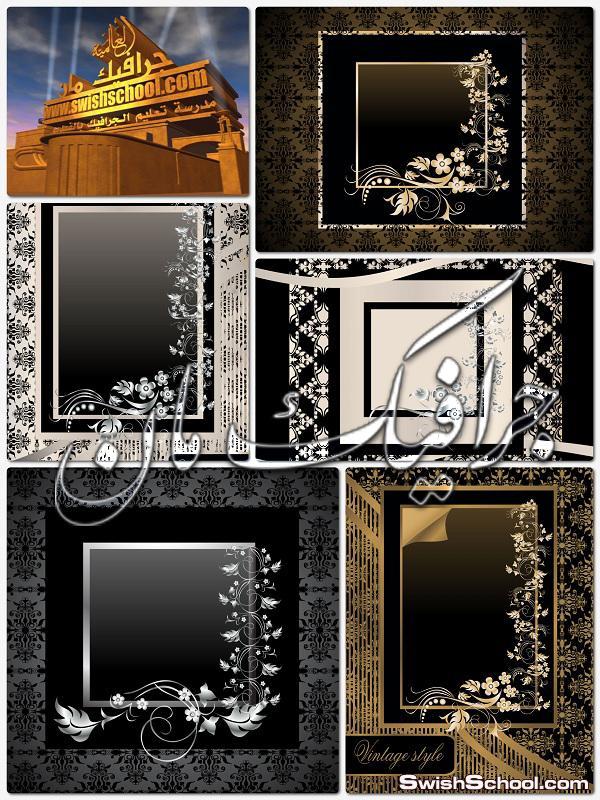 خلفيات فيكتور سوداء مع زخارف ديكور فضيه للتصميم eps - فيكتور تصاميم جرافيك 2014