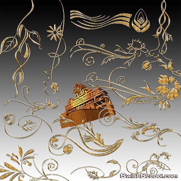 كليب ارت زخارف نباتيه مع زهور ذهبيه فخمه لتصاميم الجرافيك png