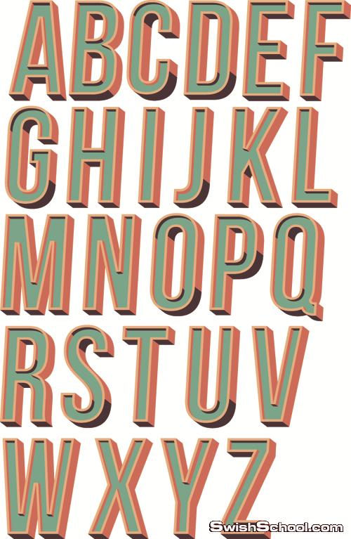 فيكتور حروف انجليزية ثلاثية الابعاد