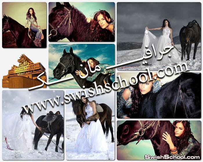 خلفيات عاليه الجوده بنات جميله مع الخيول 2014 - ستوكات عرايس الخيل jpg