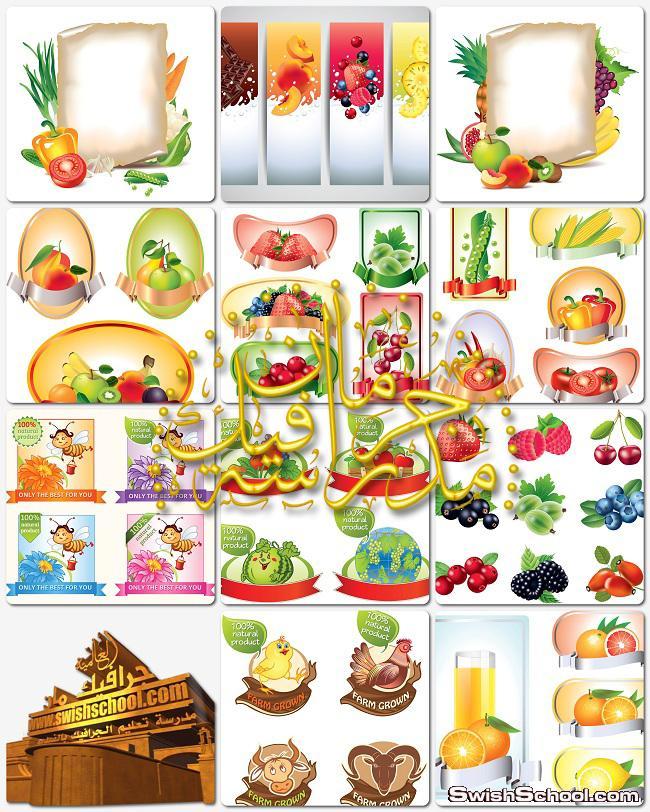 تحميل فيكتور بنرات فواكهه وخضروات eps - فيكتورات تصاميم دعايه واعلان