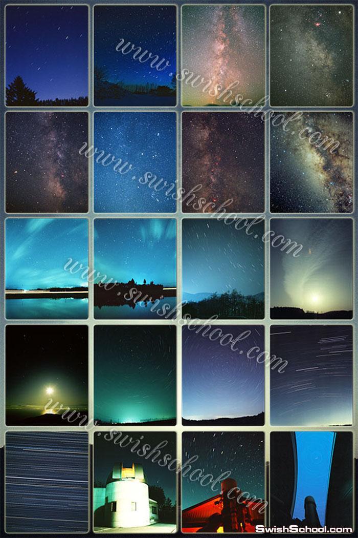 خلفيات فوتوشوب السماء الليلية _ خلفيات الكواكب والنجوم المضيئة _ خلفيات فانتازيا ليلية  ساحرة _ الجزء الاول