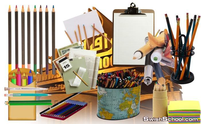 صور مقصوصه اقلام رصاص والوان خشب png - كليب ارت ادوات مكتبيه لتصاميم المكتبات