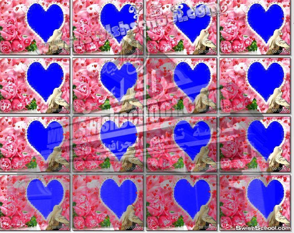 خلفيات استديو فيديو قلب مع ورود لمناسبات الرومانسية
