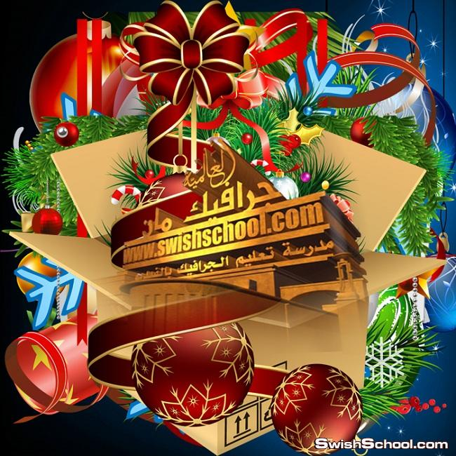 مقصوصات كرات وشرائط للزينة لعيد رأس السنة 2014