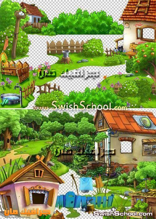 صور مقصوصه pngاشجار وخضره وبيوت كارتون مرسومه  لتصاميم كروت الاطفال بدون خلفيه 2013