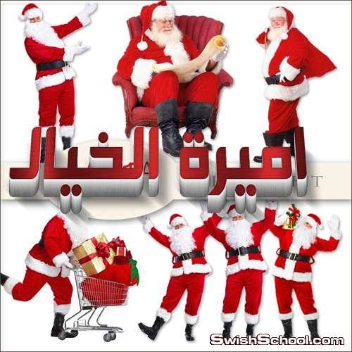 قبعات وجوارب بابا نويل مع شخصيات سانتا كلوز كرتونيه وشخصيات حقيقه مفرغه الخلفيه