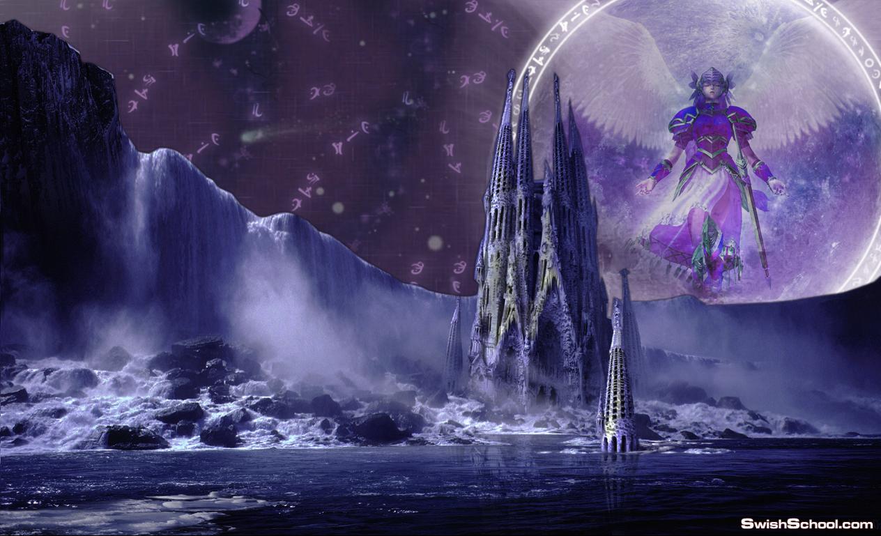 لوحات خياليه ليل وقمر باللون البنفسجي مدرسه جرافيك مان