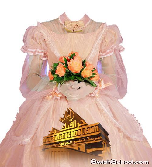 فساتين زفاف ملونه مع بوكيه الورد psd - قوالب خدع حديثه لاستديوهات التصوير 2015