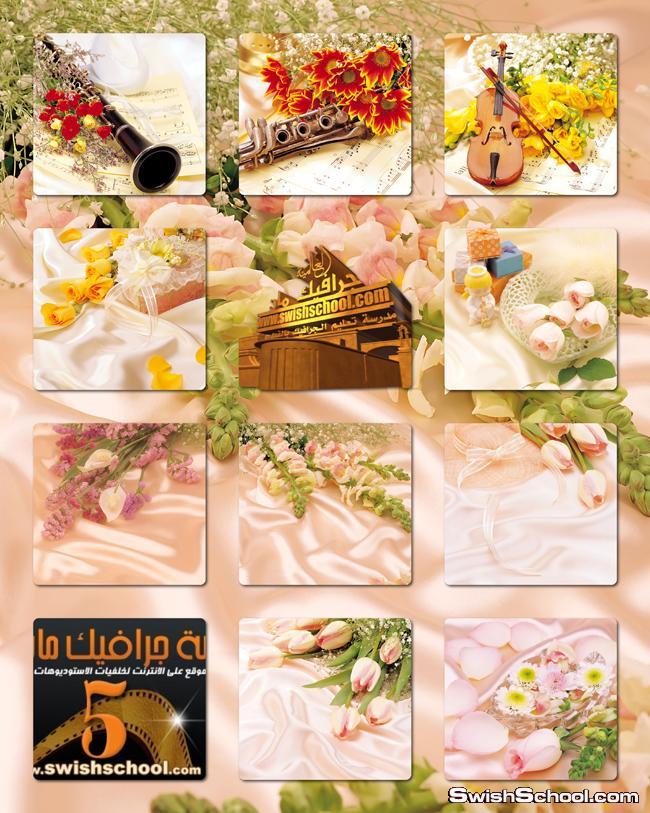 خلفيات ستان فخم مع زهور وورد وكمانجا لتصاميم الافراح والمناسبات السعيده jpg