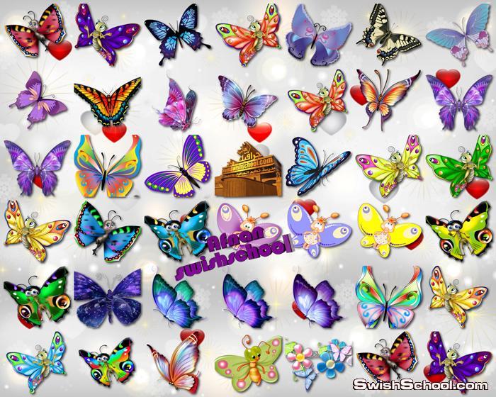 اجمل صور الفراشات مفرغه بالوان واشكال جميله للفوتوشوب png