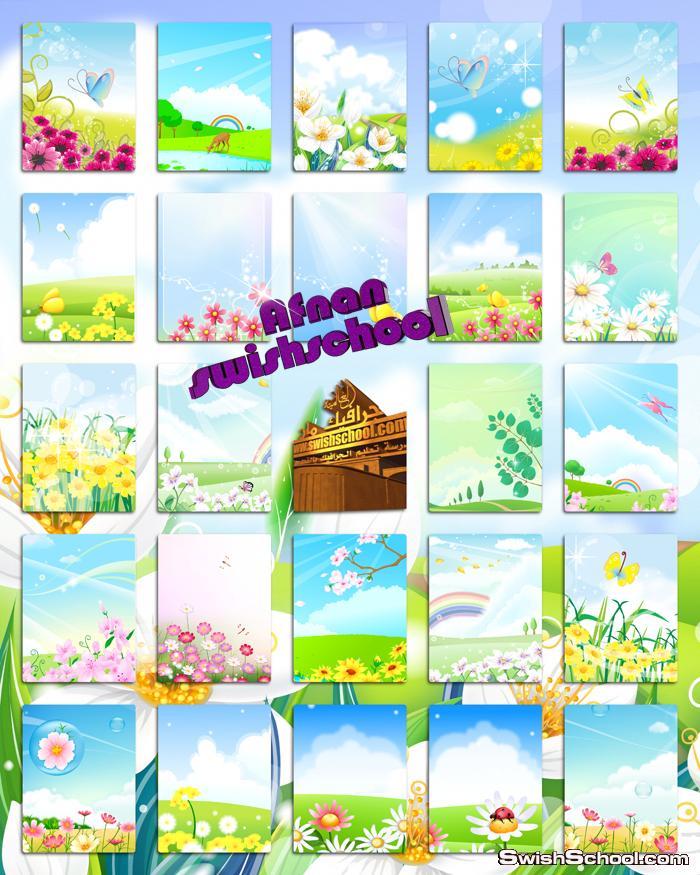 خلفيات فوتوشوب طبيعه مع ورد وزهور وفراشات الربيع - خلفيات الصيف عاليه الجوده للتصميم jpg