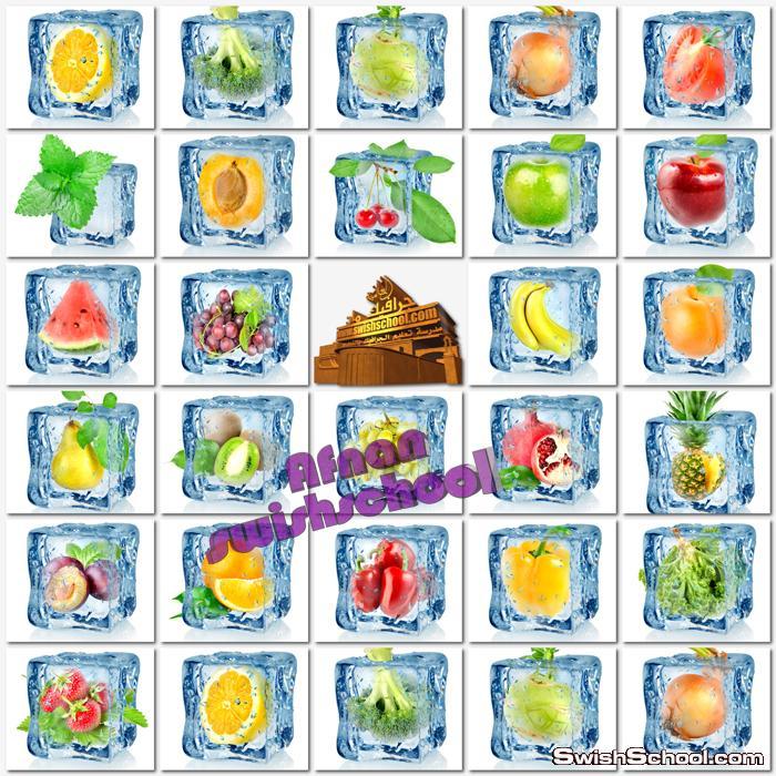 ستوك فوتو لحوم ودواجن وخضروات وفواكهه محفوظه داخل مكعبات ثلج - صور اطعمه مجمده للدعايه والاعلان jpg